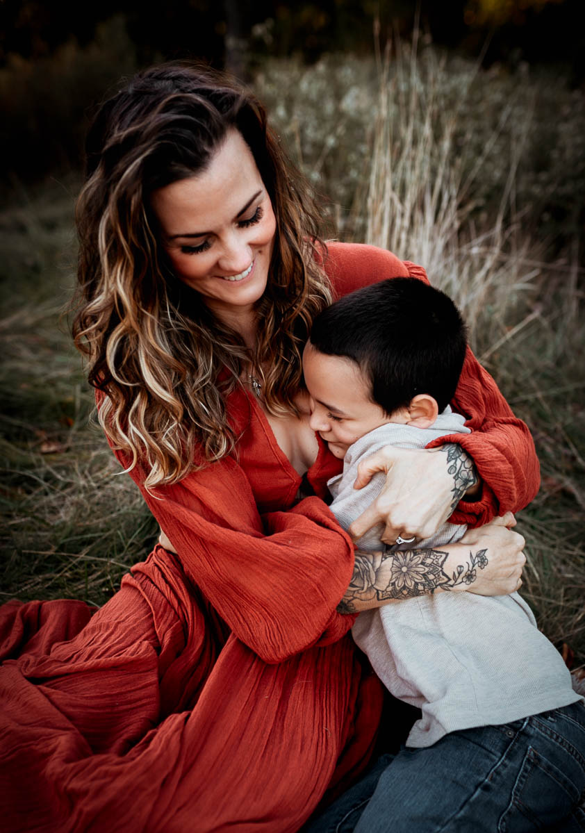 """""""Colorful and connected Family portrait of mother and son by Megan Marie Photographer."""""""