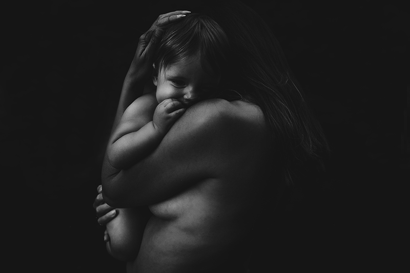 """""""Black and white mother and child portrait by Megan Marie Photographer."""""""